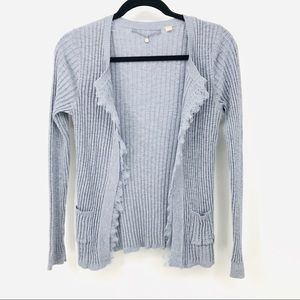 Knitted & Knotted Blue Ribbed Open Front Cardigan